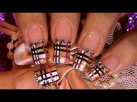 tutorial nail art burberry golden burberry pattern nail art design tutorial youtube