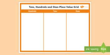 Hundreds Tens And Ones Place Value Grid Display Poster Place