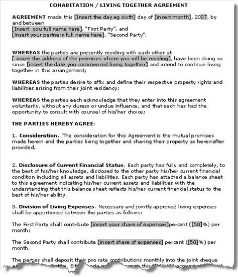 personal relationship contract template cohabitation agreement de facto relationship agreement