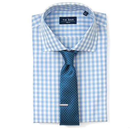 classic gingham dress shirt sky blue ties bow ties