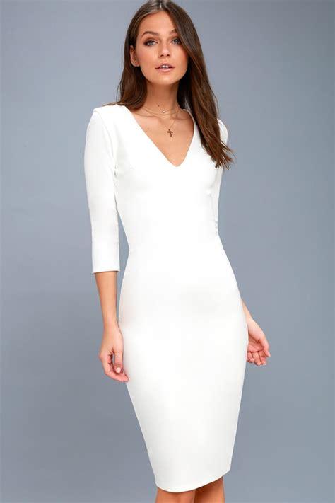Dress Stretch Wedges Dress chic white dress white midi dress bodycon dress