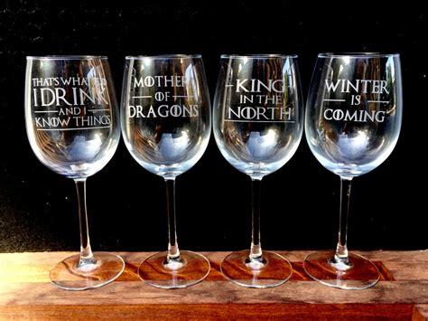 game of thrones wine glasses etched quotes set of 4 i