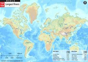 World S Largest Map by Longest Rivers In The World Top Ten