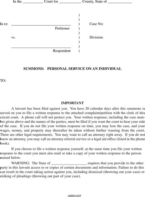 Sle Response Letter Divorce Summons Free Arkansas Divorce Summons Form Formxls