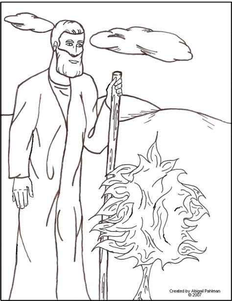 Free Coloring Pages Of Moses Fire Burning Bush Coloring Page
