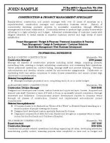 construction project management specialist resume sle