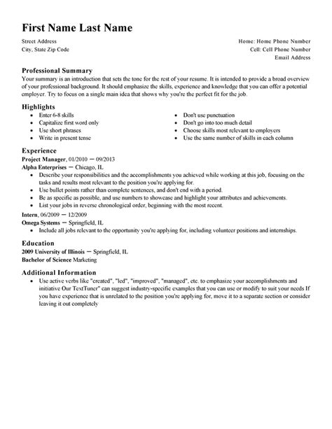Standard Resume Template by Free Resume Templates Fast Easy Livecareer