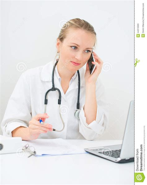 doctor the phone doctor talking on the phone stock photo image 44313303