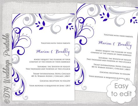 Wedding Invitation Template Silver Gray And Royal Blue Silver Wedding Invitations Templates