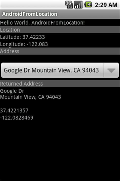 Address Lookup Using Longitude And Latitude Android Er Get Location Latitude And Longitude From