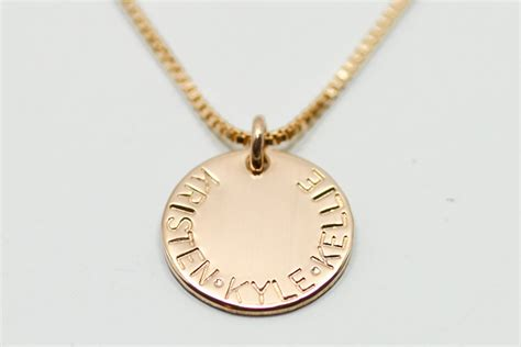 gold disc necklace dainty gold necklace name necklace