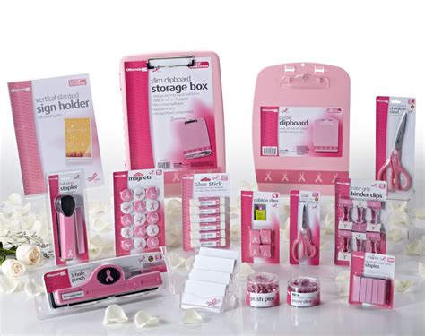 pink themed office supplies breast cancer research