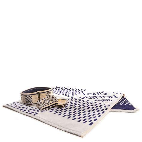 Louis Vuitton Louis Vuitton Damier Azur Badminton Set And Key Pouch by Louis Vuitton Damier Azur Headband Sweatband Towel Set