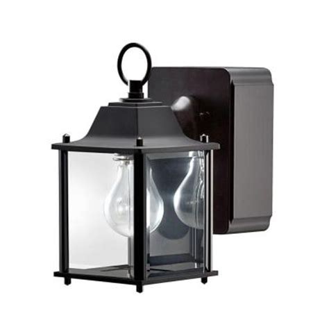Outdoor Wall Light With Outlet Hton Bay Mission Style 1 Light Outdoor Black Wall Lantern With Built In Gfci 30811423 The