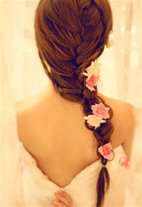 romantic hairstyles for long hair with french braids sexy romantic braided hairstyle with flowers for wedding