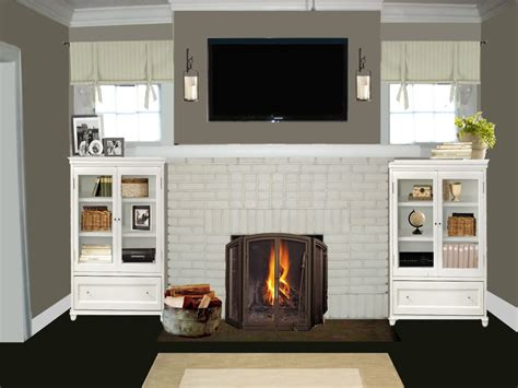 brick fireplace painted white fireplace design ideas