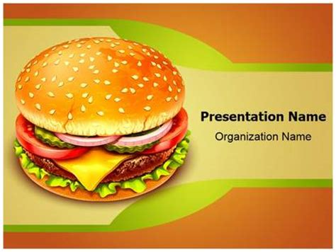 Fast Food Hamburger Powerpoint Template Background Fast Food Powerpoint
