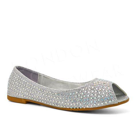 flats shoes uk new womens diamante ballet flats peep toe pumps