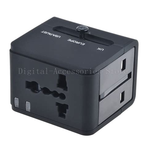 Universal Travel Dual Usb universal world travel adapter converter with dual usb charger au us uk eu ebay