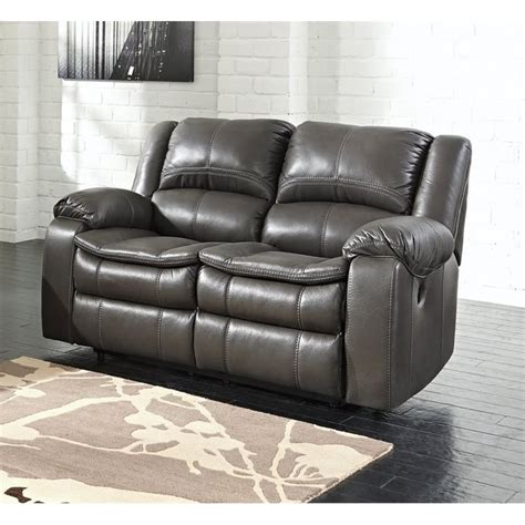 gray leather loveseat ashley long knight faux leather power reclining loveseat