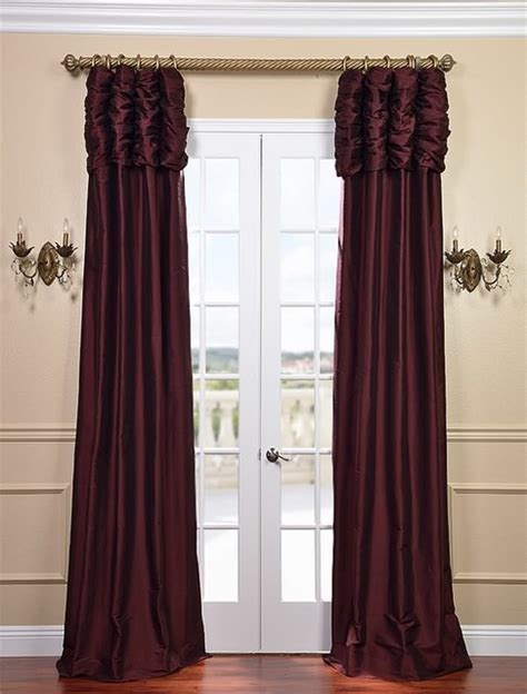 ruched drapes ruched merlot thai silk curtain traditional curtains