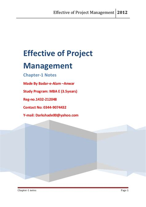 Project Management Lecture Notes For Mba by Project Management Chapter 1 Notes