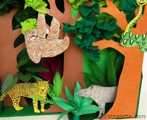 printable forest diorama rainforest habitat diorama animals are printable rain