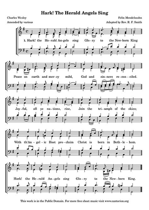 printable lyrics hark the herald angels sing hark the herald angels sing voice satb sheet music