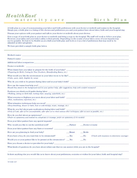 birth plan template printable one page birth plan template free
