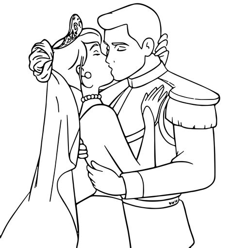 coloring pages of cinderella and prince charming cinderella prince kiss sketch coloring page