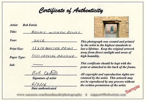 photography certificate of authenticity template search