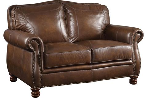leather and loveseat coaster furniture montbrook brown leather loveseat 503982