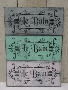 le bain sign bathroom shabby french cottage chic le bain sign french bathroom sign paris apartment chic