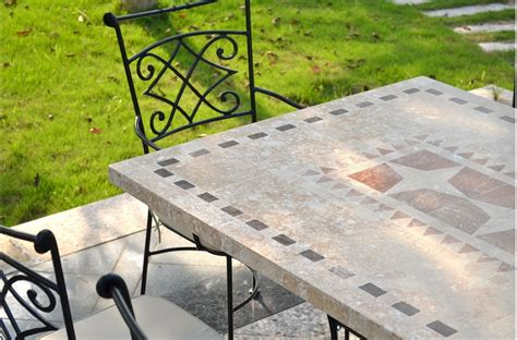 stone top outdoor dining table 78 94 quot outdoor stone patio dining table mosaic marble