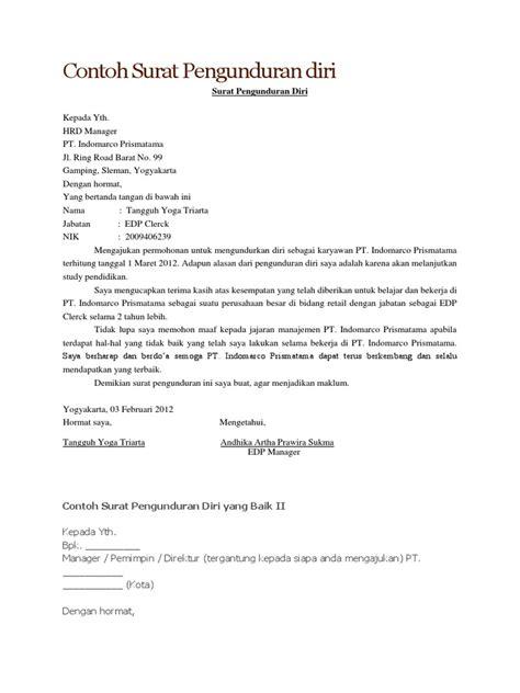 Contoh Surat Pengunduran Diri Kerja Dengan Alasan by Contoh Surat Pengunduran Diri