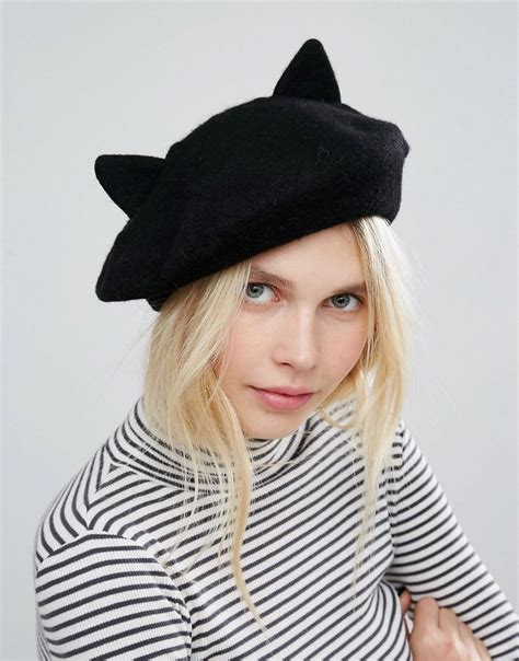 Cat Ear Beret lyst monki cat ear beret hat black in black