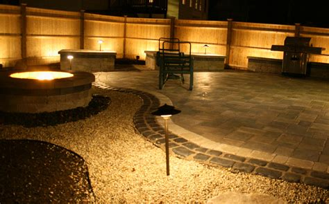 Patio Paver Lights Paver Patio With A Firepit And Planters At With Low Voltage Landscape Lights In Danvers