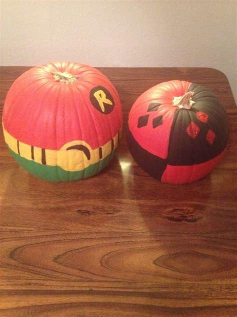 robin  harley quinn painted pumpkins harley quinn