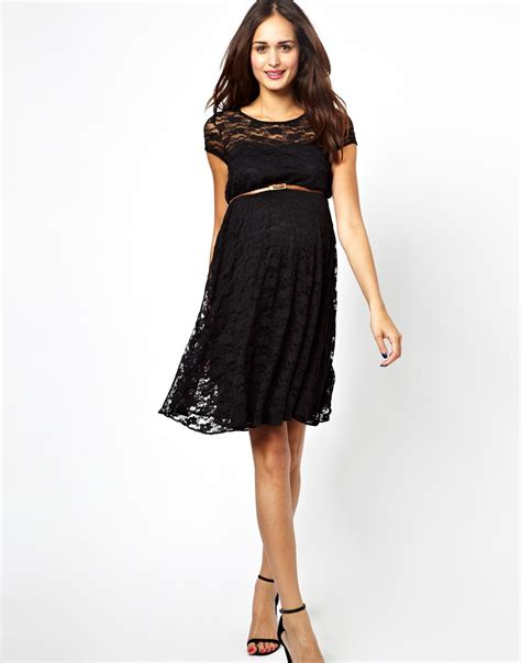 asos lace skater dress with belt in black lyst