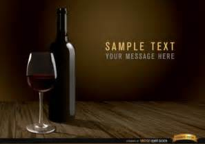 realistic wine bottle on wooded background vector free