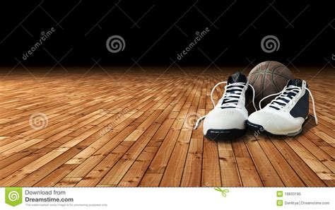 basketball court shoes basketball shoes and on the court royalty free stock