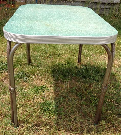 small formica top kitchen table green chrome 42x30 mid