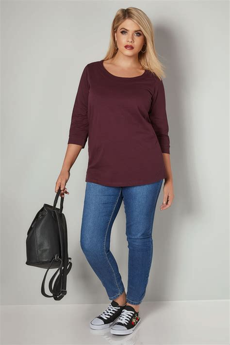 Id 546 Icon Blouse 1 burgundy band scoop neckline t shirt with 3 4 sleevess