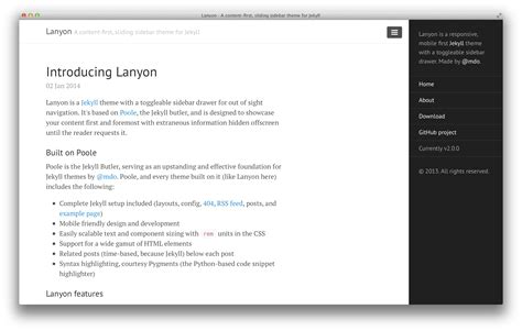 jekyll layout content github poole lanyon a content first sliding sidebar