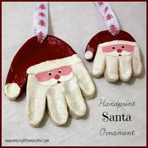 messy  monster santa handprint ornaments