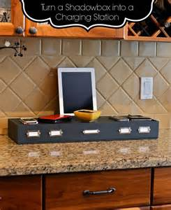 Multi Device Charging Station And Cord Organizer lookie what i did turn a shadowbox into a charging station