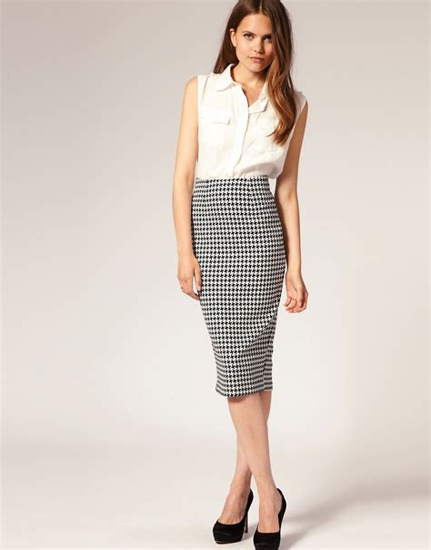 asos asos houndstooth pencil skirt at asos