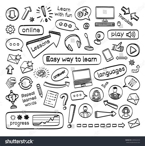 Doodle Set Lessons Vector Stock Vector
