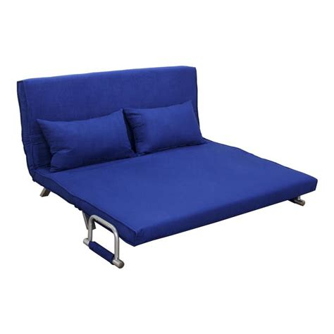 folding bed settee homcom 61 quot folding futon sleeper couch sofa bed blue