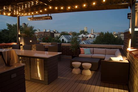 Outdoor Roof Lights Rooftop Deck With Landscape Lighting Bbq And Outdoor Heater Lakeview Chicago